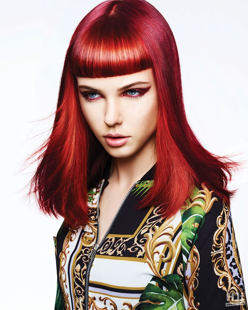 Daring bright red style with full fringe