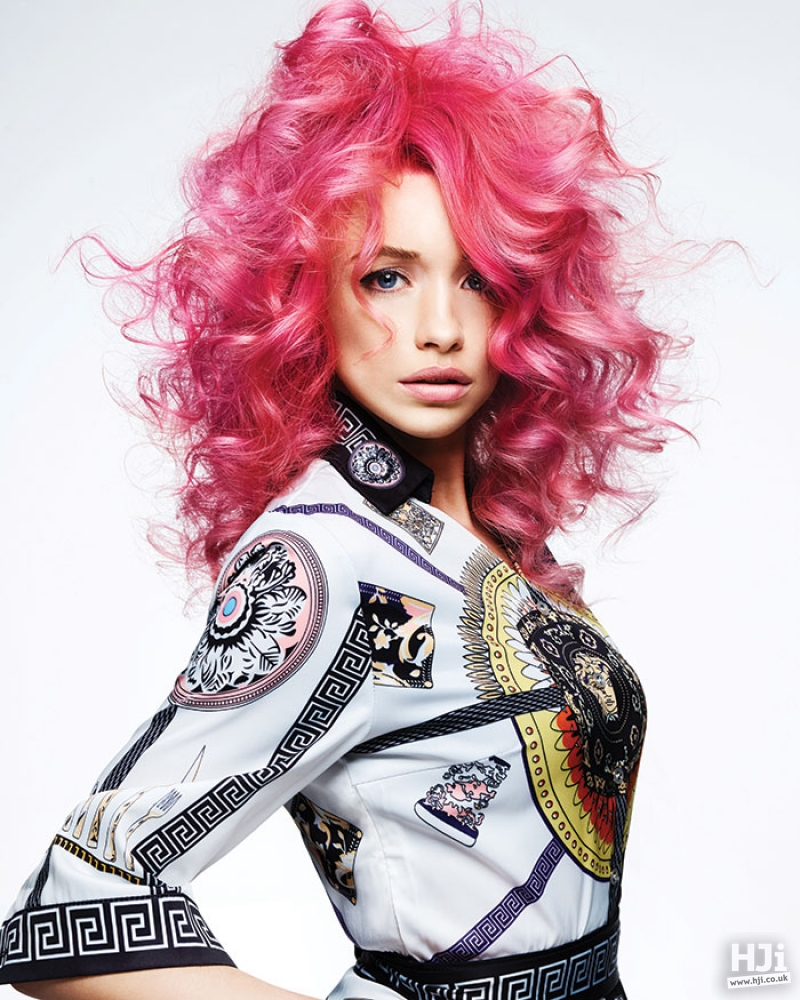Bright pink curly style
