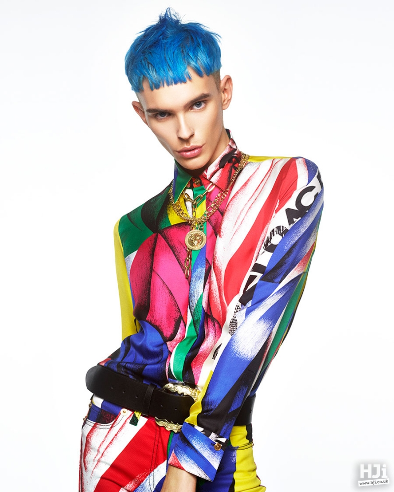 Creative colour and a fringe man hairstyle