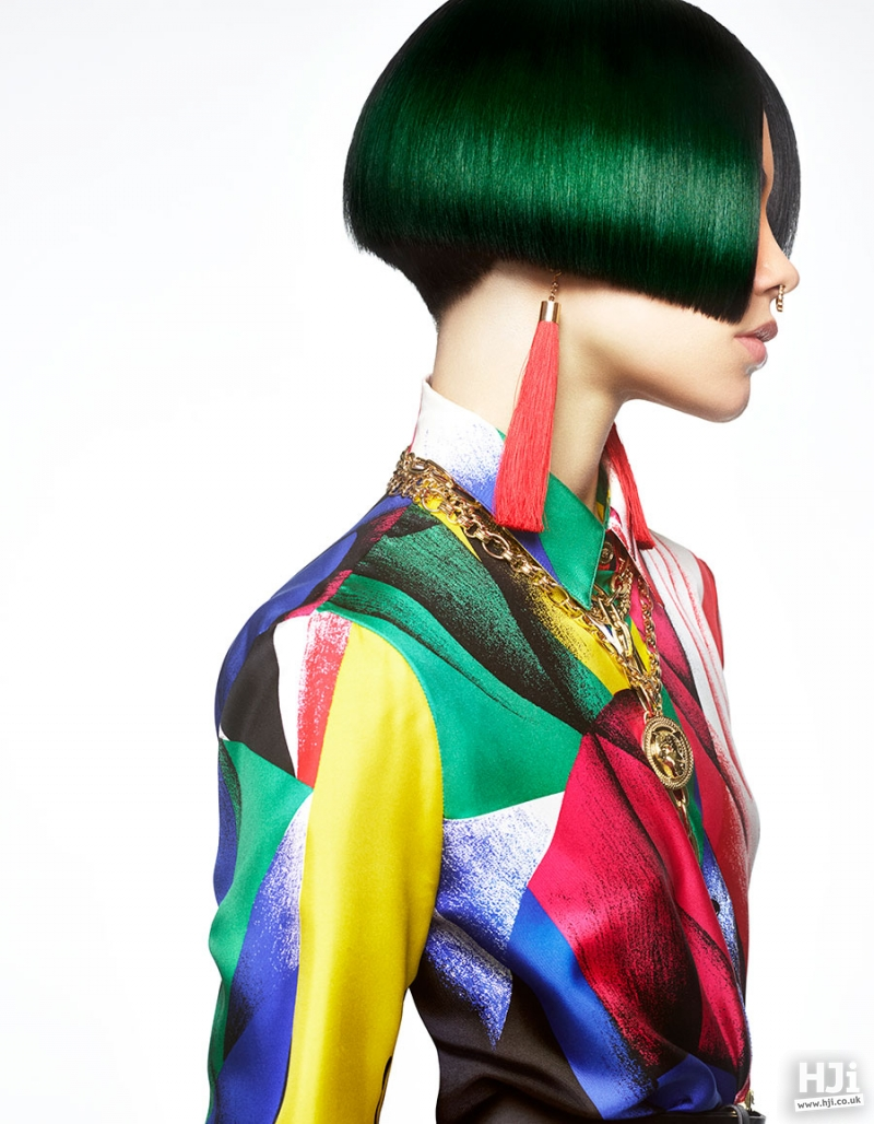 Sleek bob hairstyle in a vibrant colour