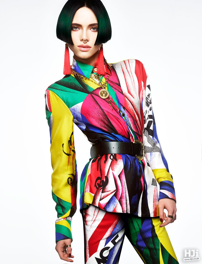 Sleek bob hairstyle in a vibrant colour
