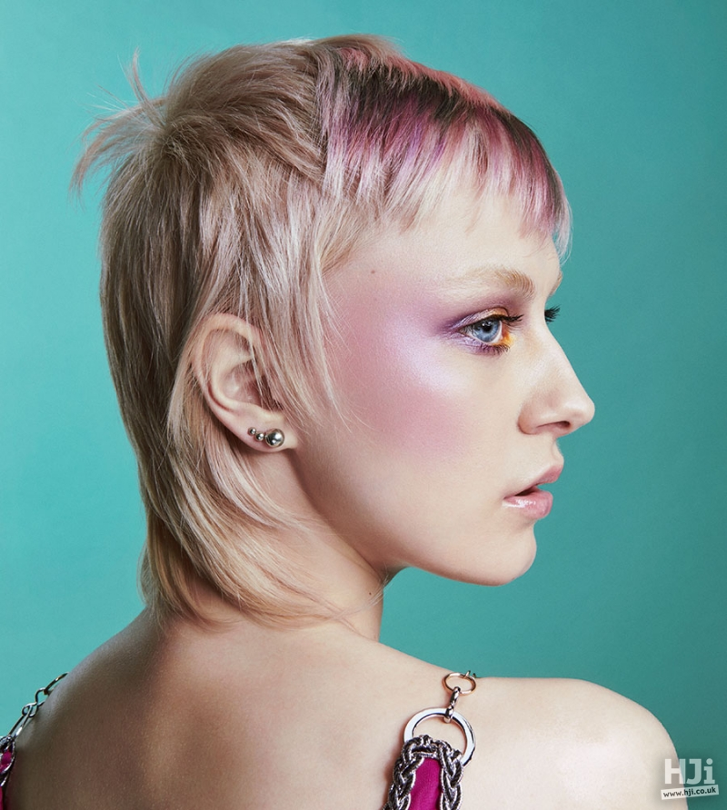 Short, mullet, blonde and pink
