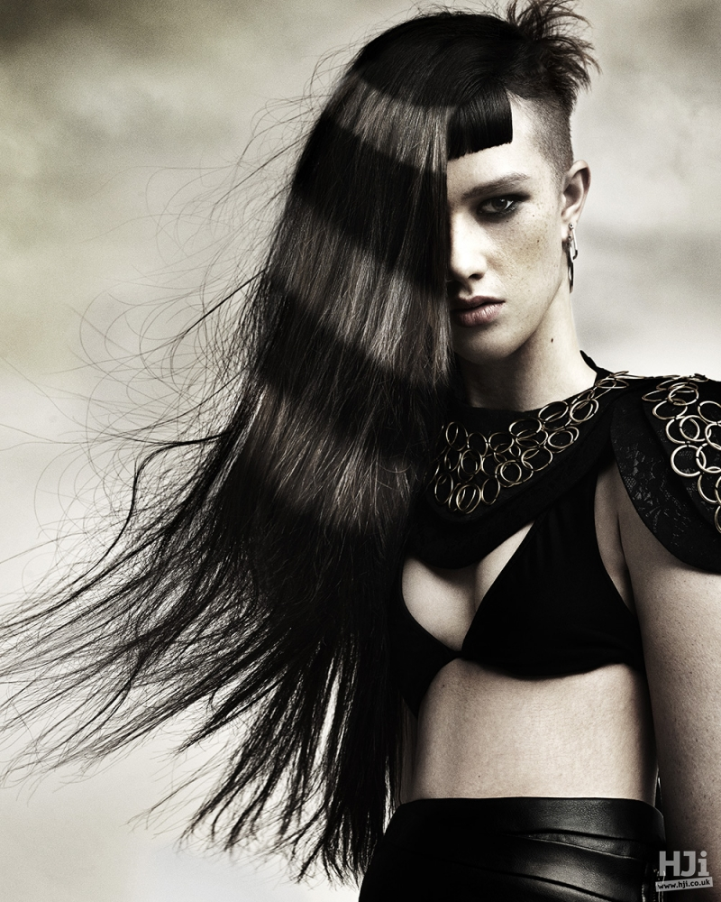 Creatively coloured fringe with skin fade