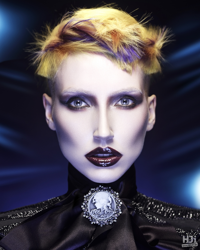 Yellow short hair with spiky styling and texture at front
