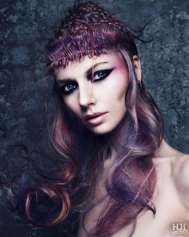 Creative colour braids and curls