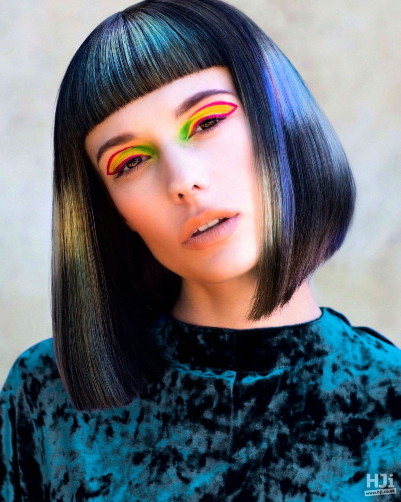 Creative bob with visor fringe.