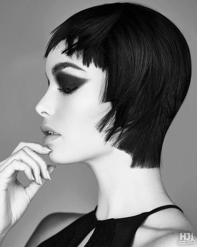 Short hair styled close to the head