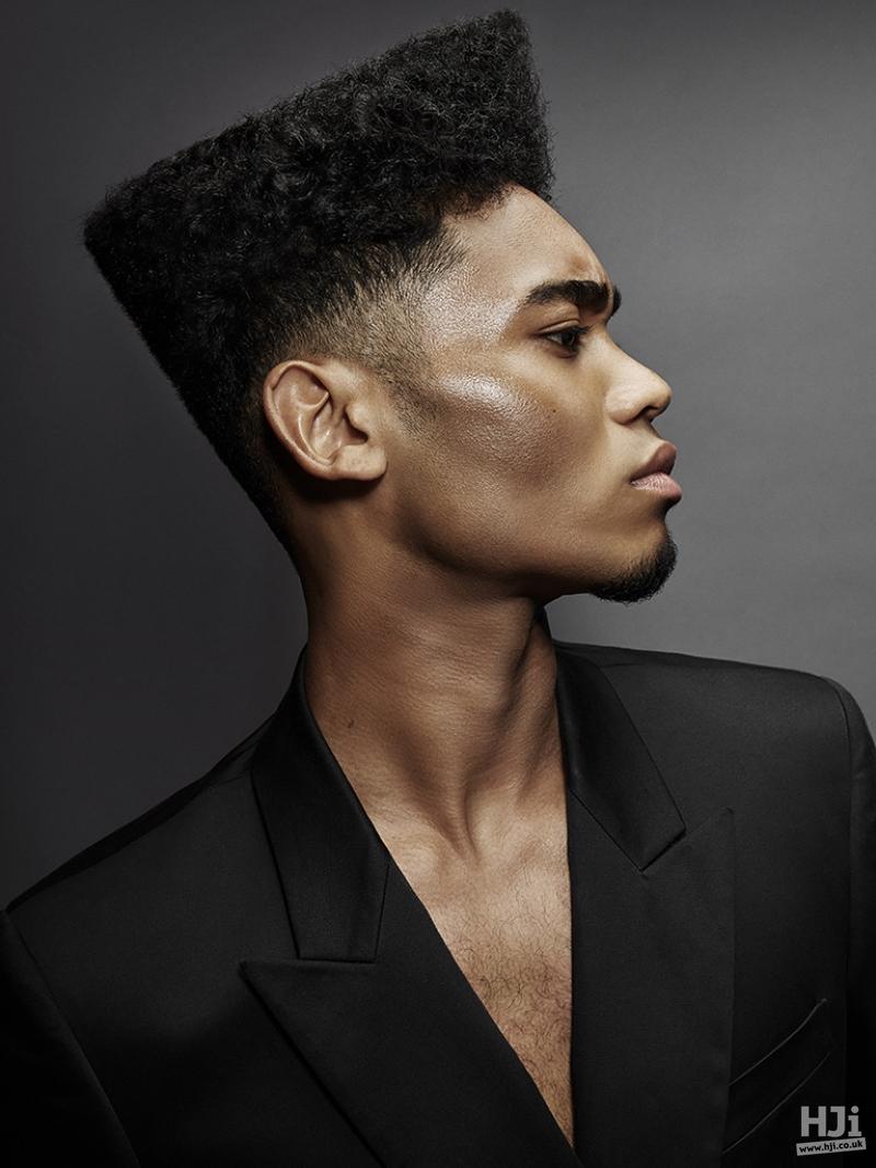 Geometric cut, afro, brunette