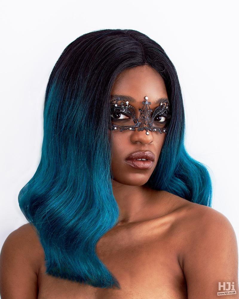 Dark blue afro waves