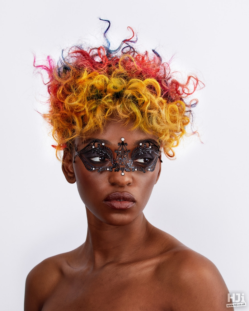 Red orange afro creative curls updo