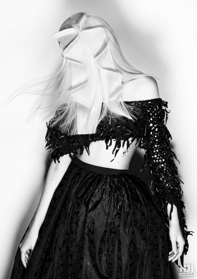 Long crimped blonde avant garde style