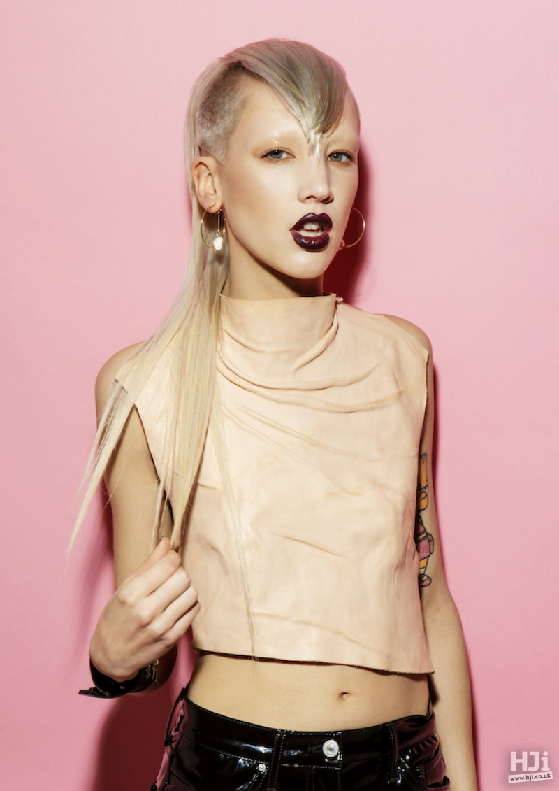 Platinum blonde long style with v-shaped pointed fringe