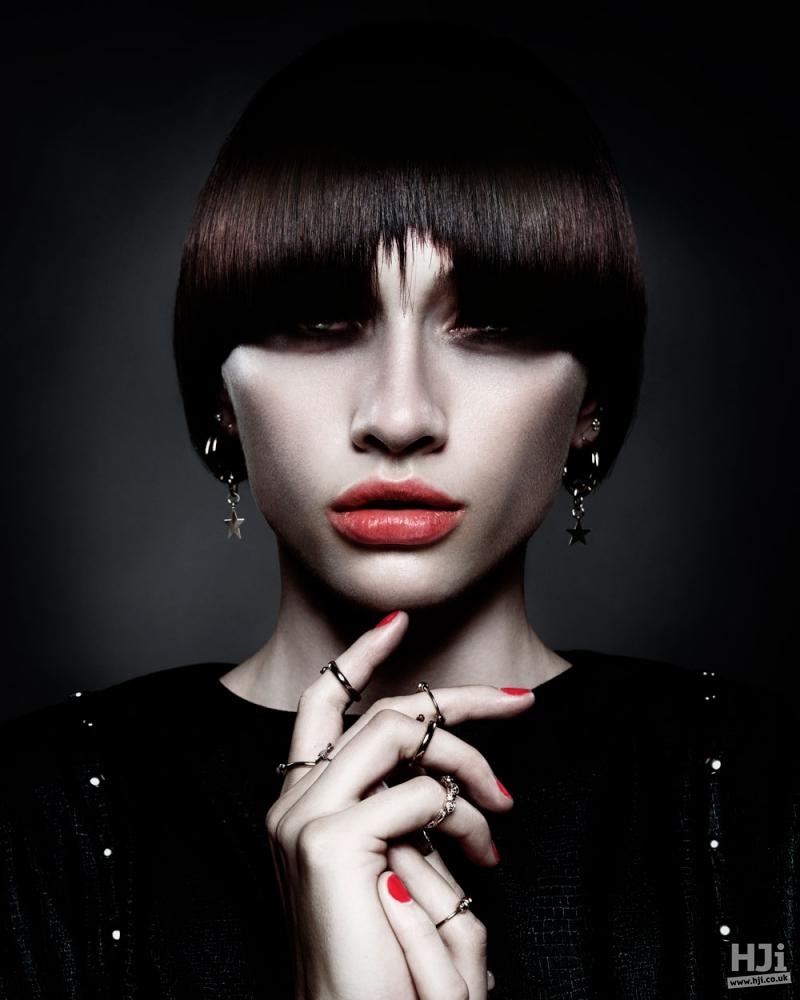 Centre-parted brunette fringe