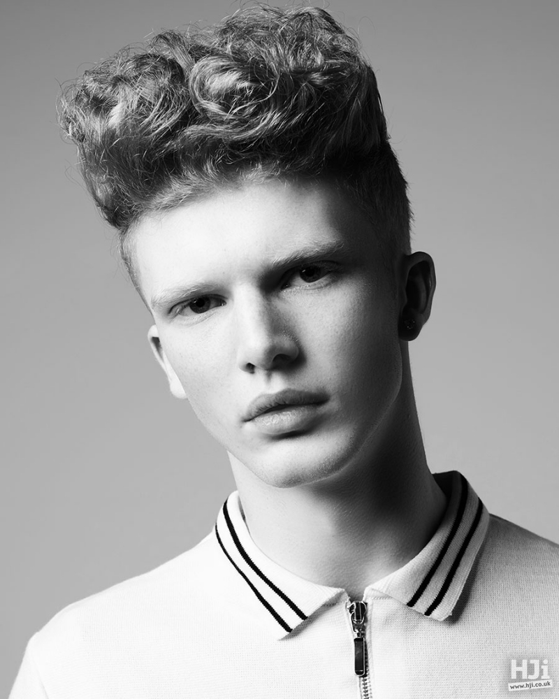 Curly flat top men hairstyle
