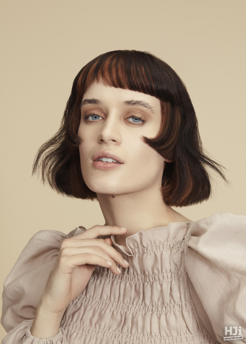 Brunette bob with creative colour panels