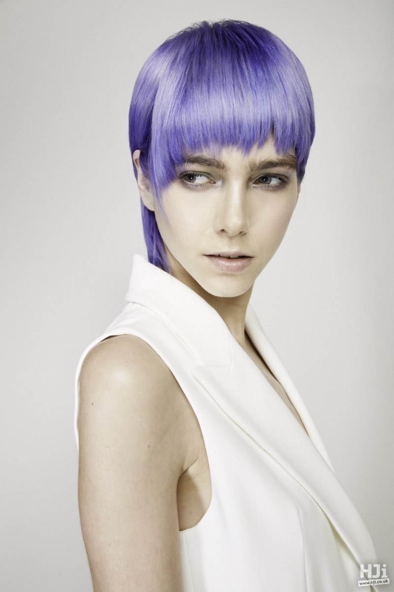 Violet full fringe with sleek bob