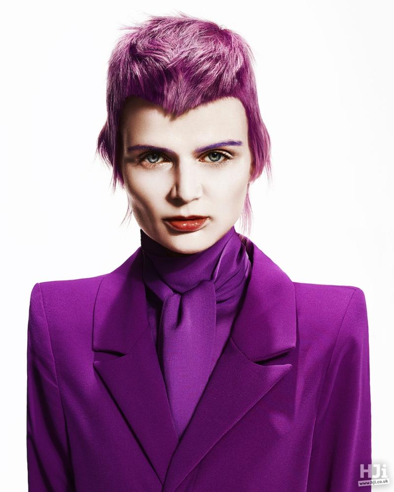 Violet block colour hair