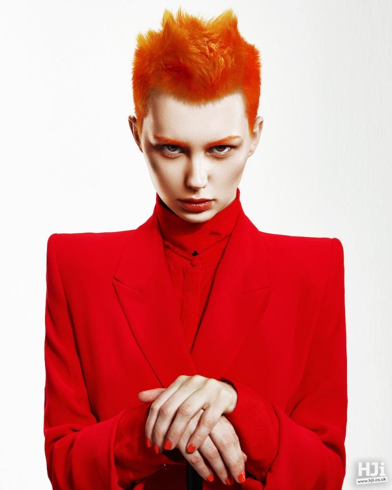 Bright orange spiky styling