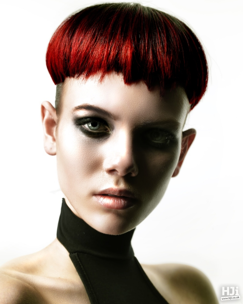 Black to red balayage crop