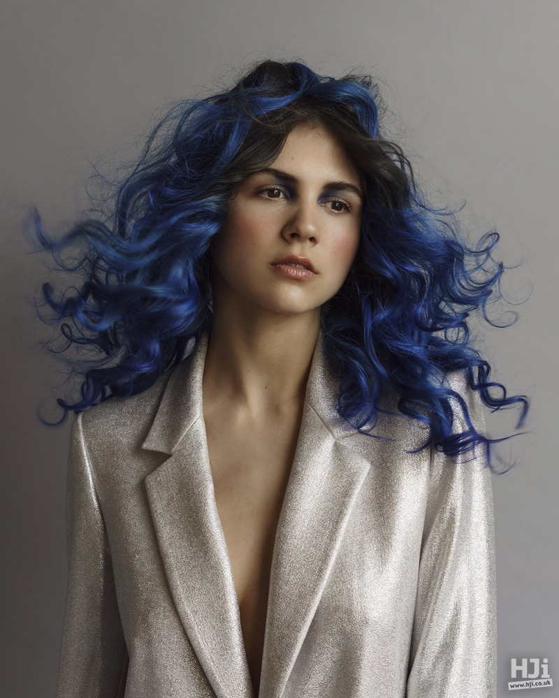 Long blue curls