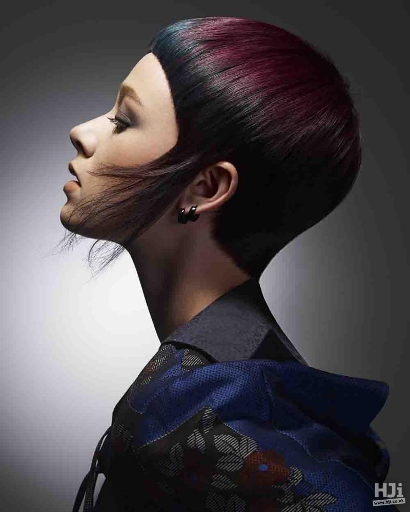 Multi-coloured hair and sharp fringe
