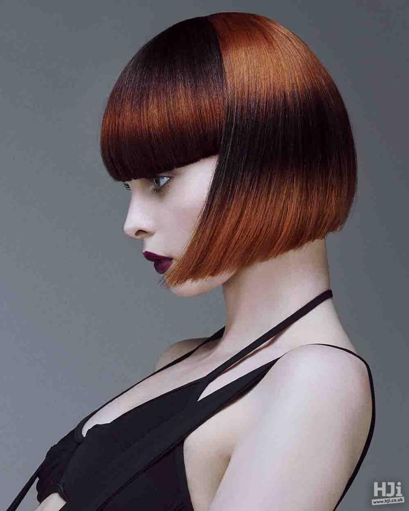 Sharp orange bob cut