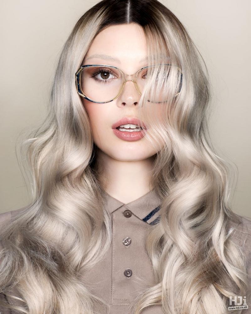 Wavy long platinum hair