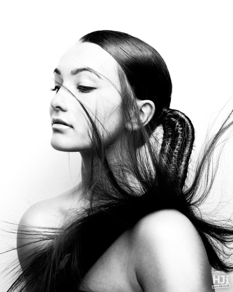 Sleek dark ponytail