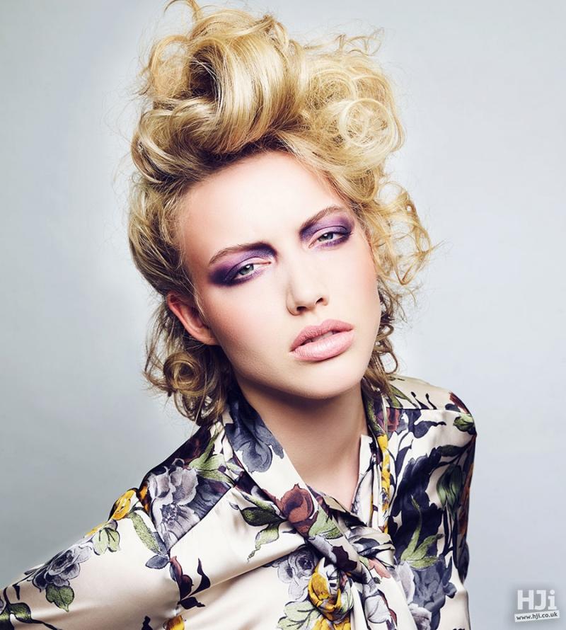 Mid-length, blonde, ash blonde highlights, pompadour