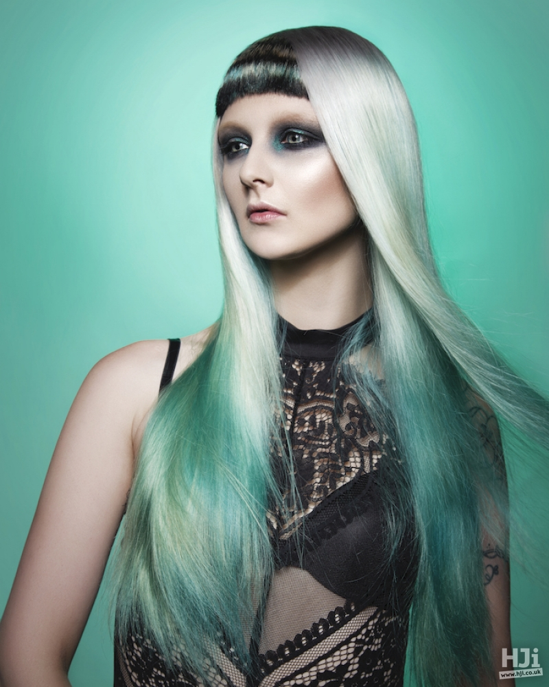 Ash blonde and teal long balayage with short fringe
