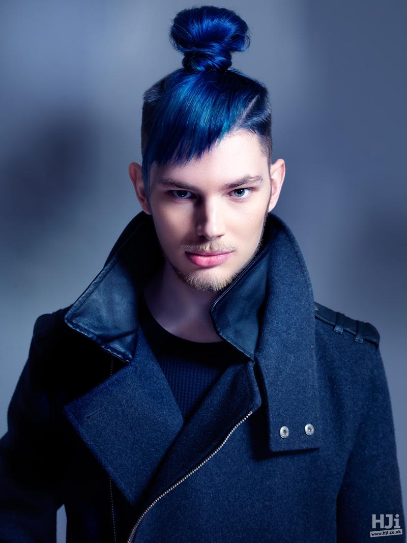 Dark blue top-knot