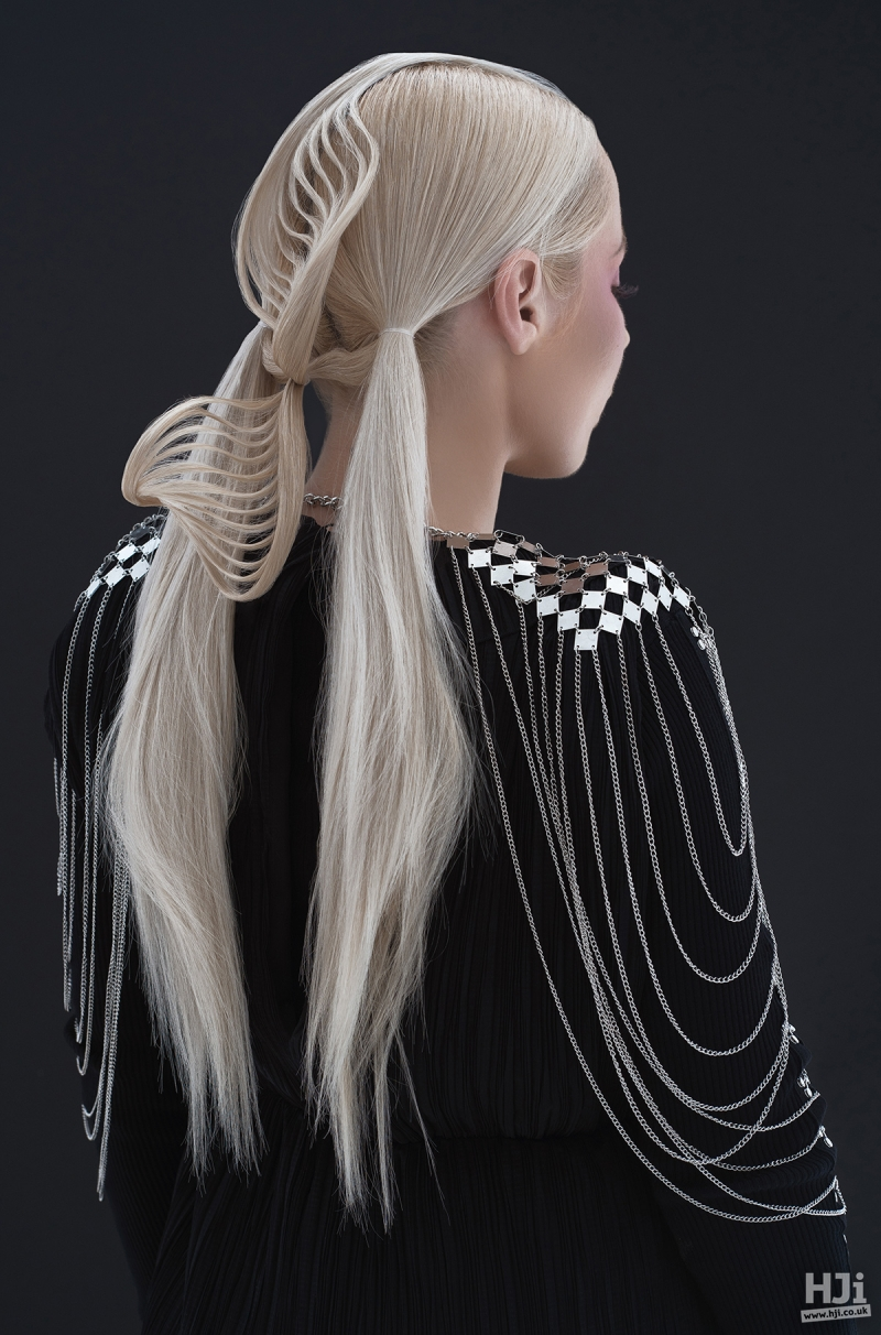 Creative plaiting and ponytails in long blonde