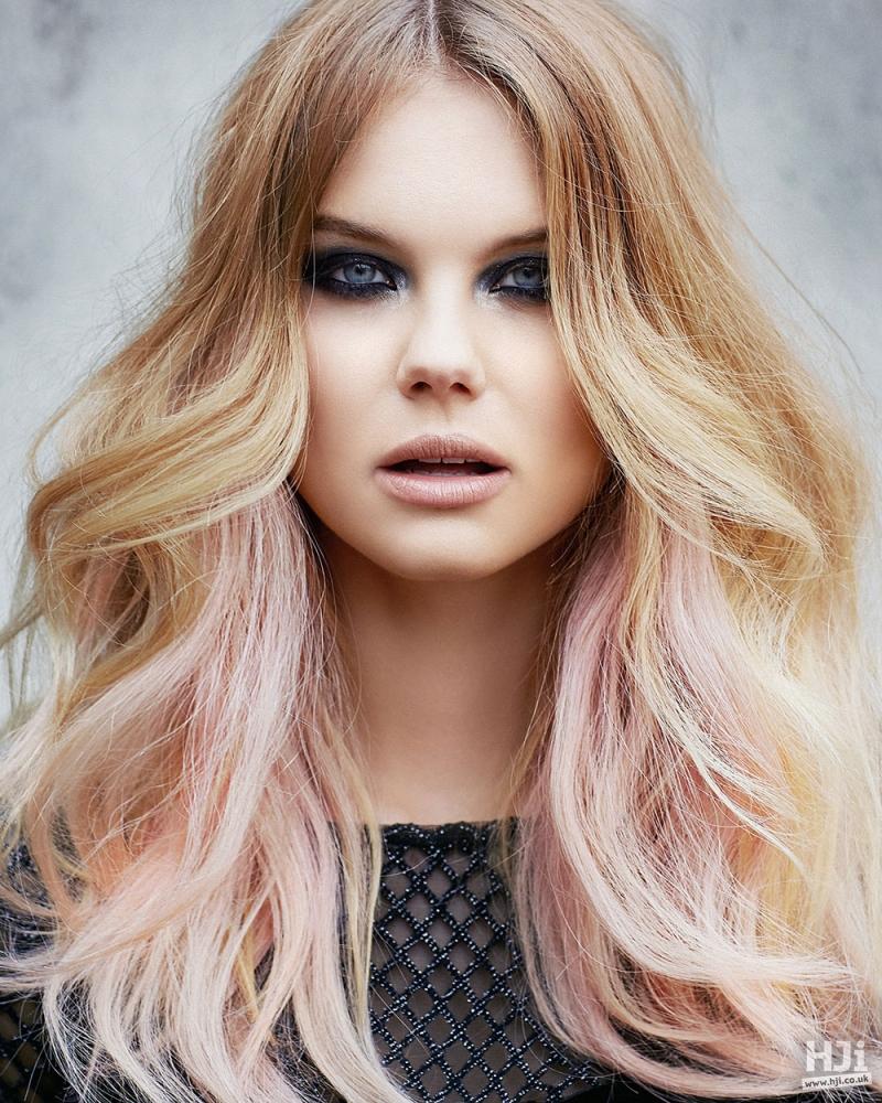 Blonde balayage with pink surprise