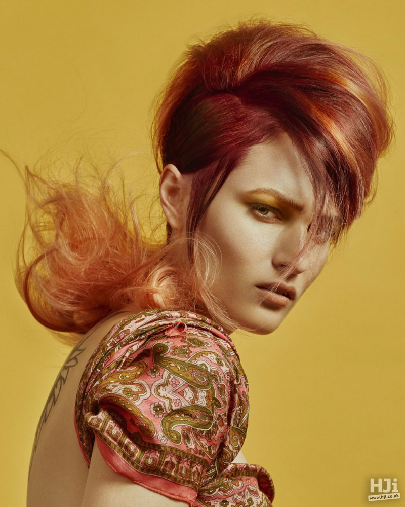 Redhead bouffant