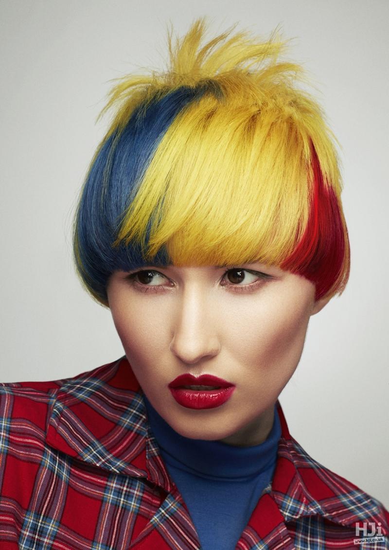 Multi-coloured bob cut