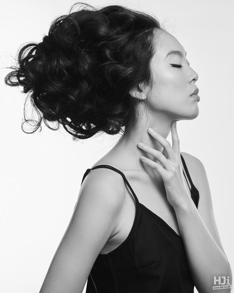 Beautiful black curls in updo