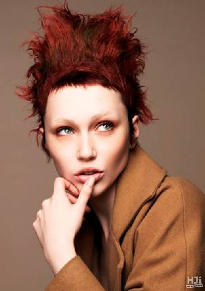 Red spiky updo with short fringe