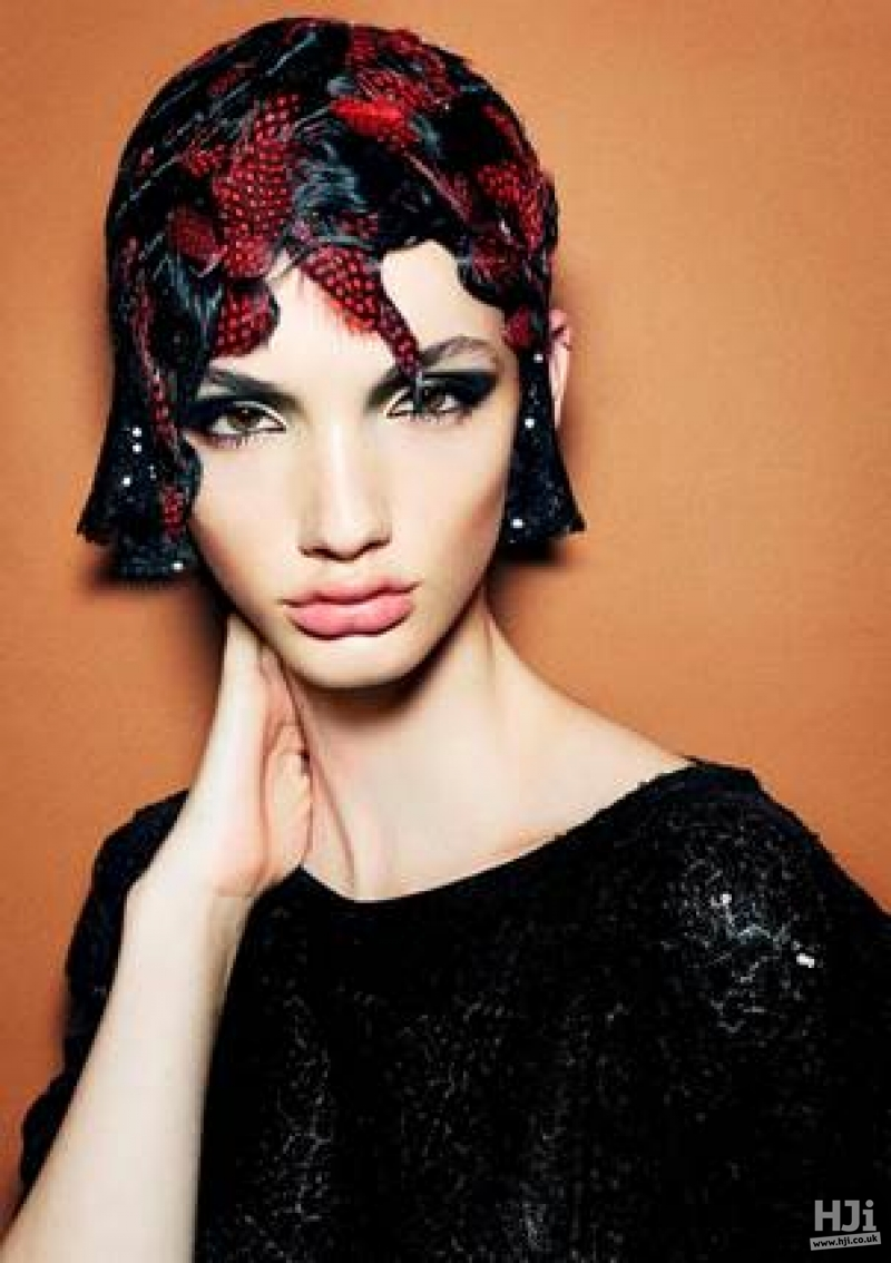 Avant garde retro short style with black and feathers