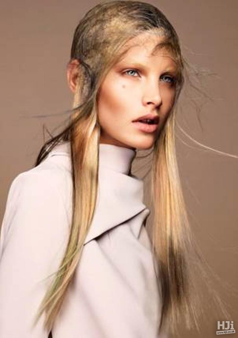 Long blonde sleek hair with an avant-garde net