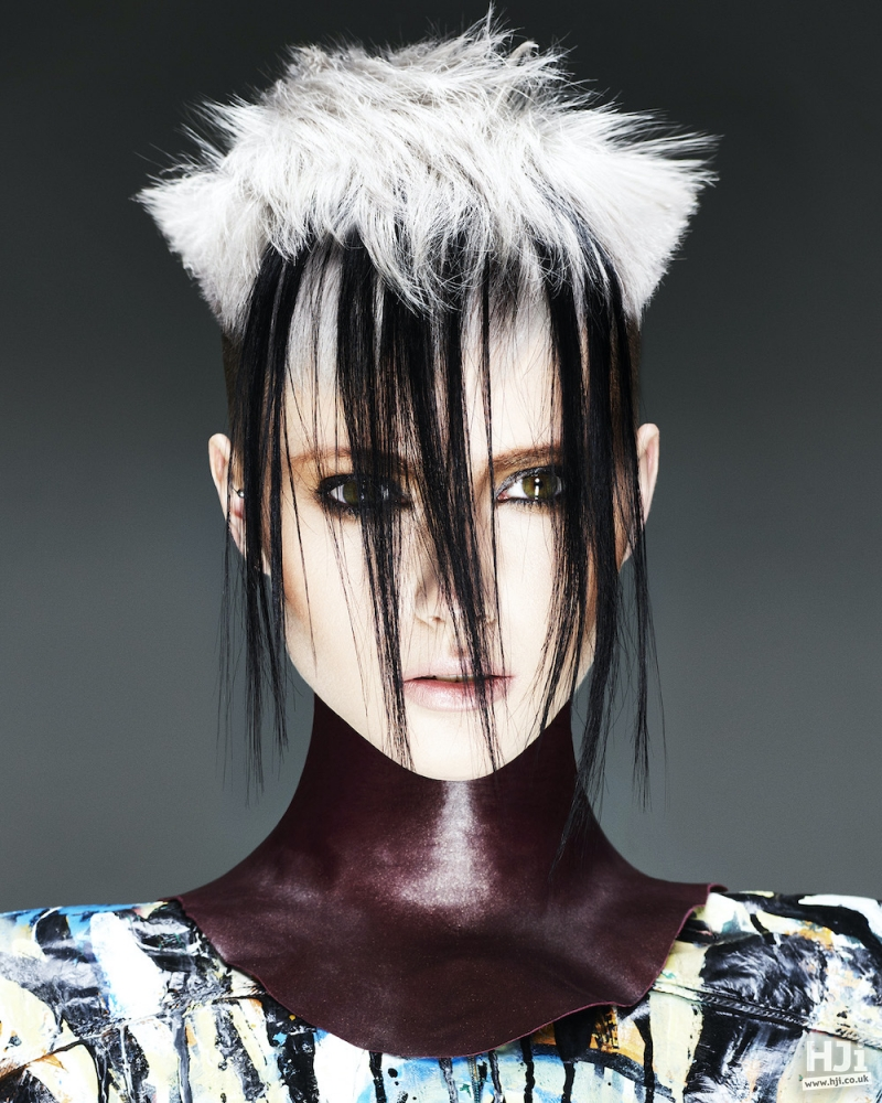 Avant-garde white and black look