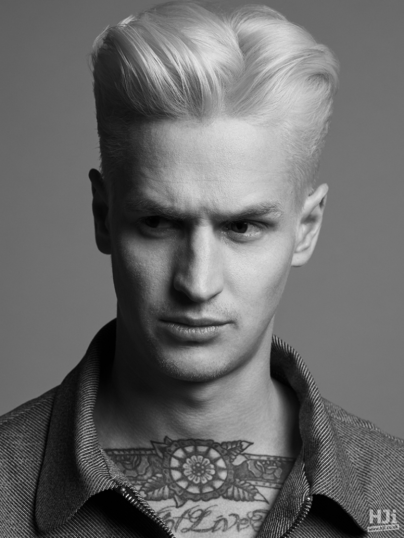Blonde mens swept back style