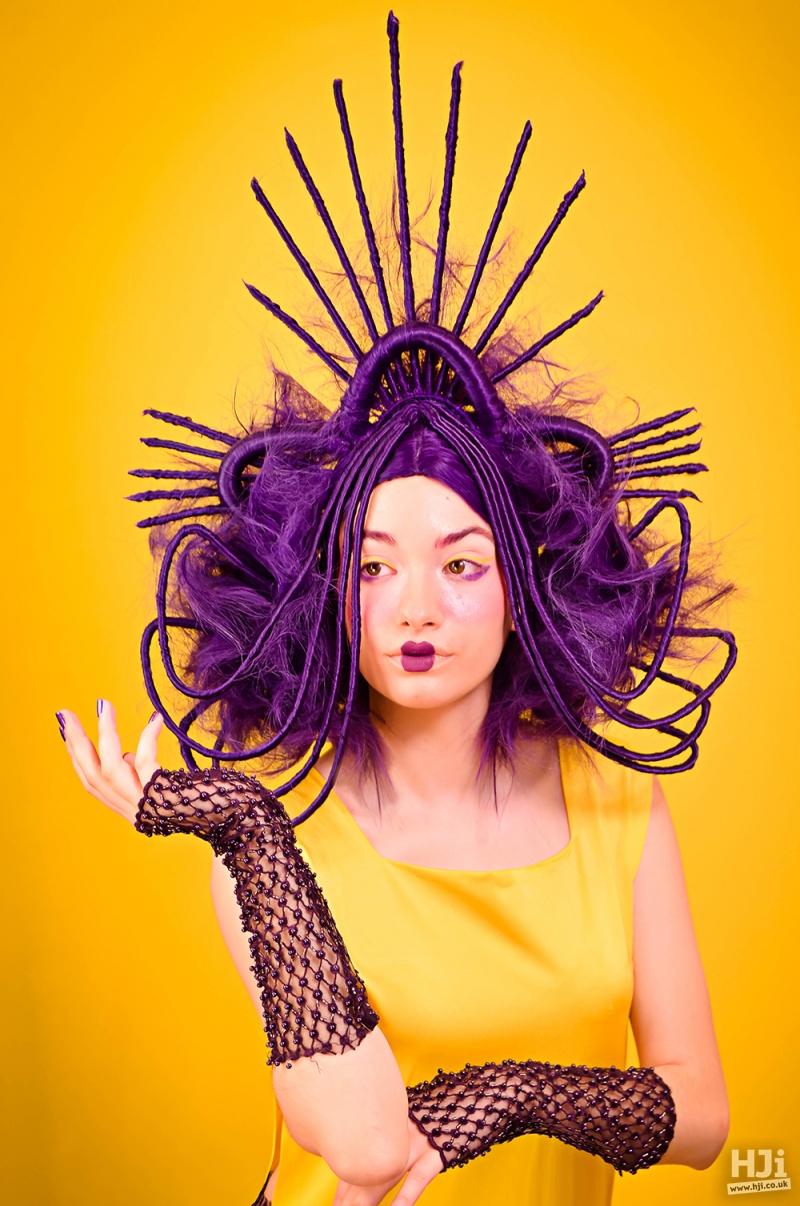 Avant-garde purple updo