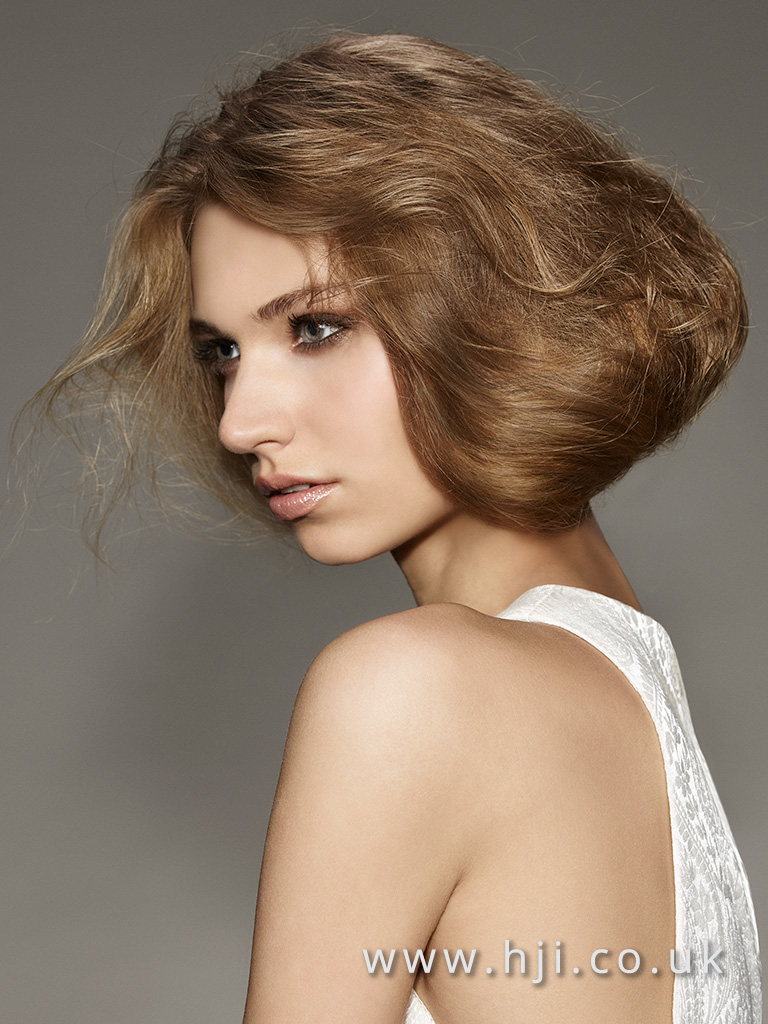 2016 Mid brown faux bob with airy texture and boho waves