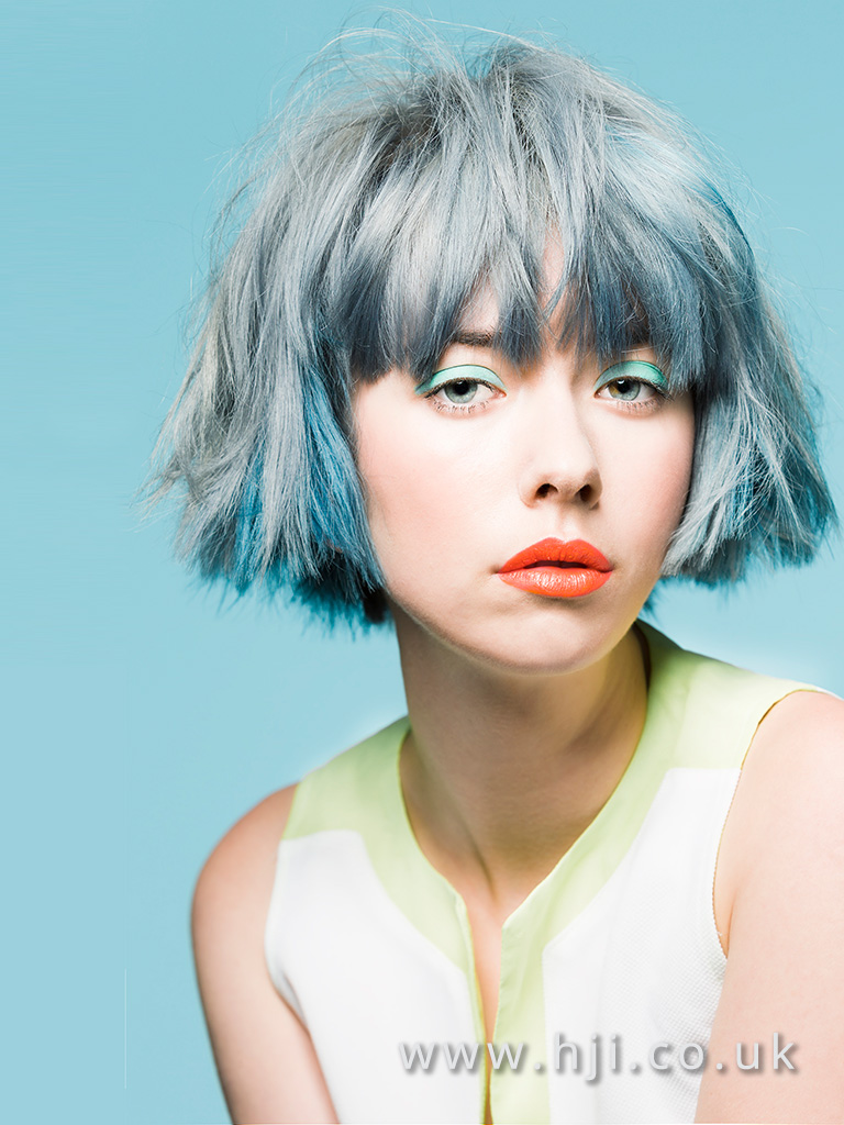 2017 Short Messy Textured Bob Hairstyle With Blue Grey