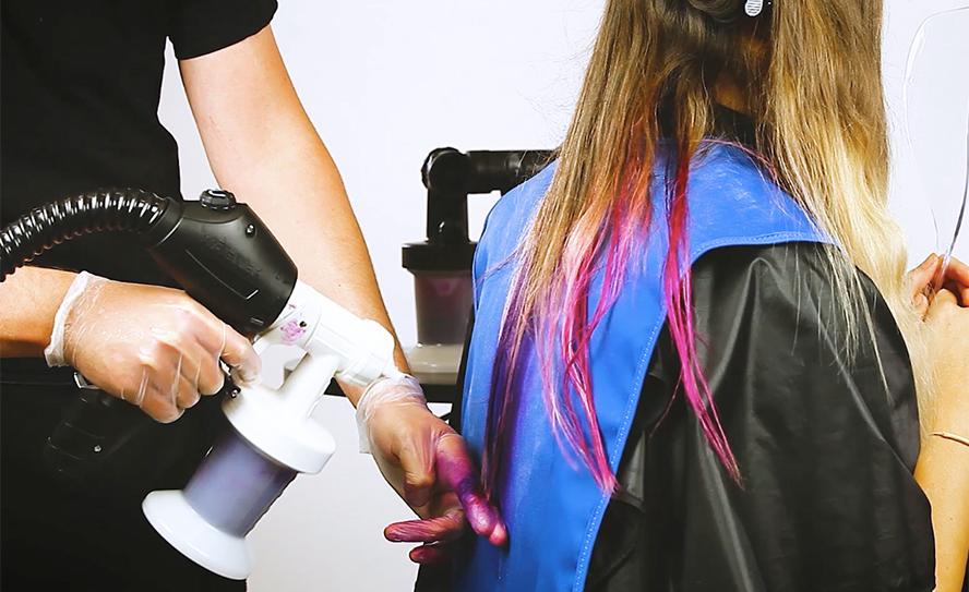 Spray-on hair colour