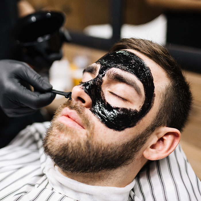 Man with Face Mask Barbering Add on Services