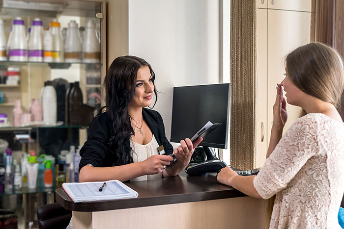 salons pros cons receptionist