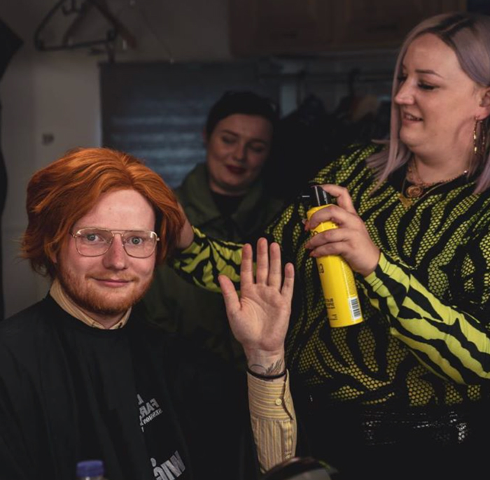 lisa farrall on set with ed sheeran