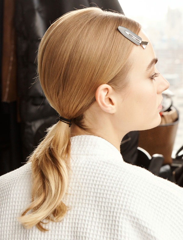 redken at longchamp aw20 fashion week ponytail