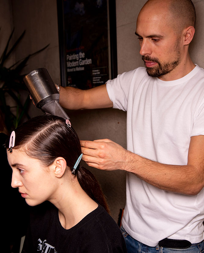 ponytails at aw20 fashion week benjamin muller hairstylist for dyson